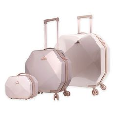 The Kensie Gemstone Luggage Collection is ideal for keeping your belongings secure. Each sleek, scratch-resistant design comes in a unique shape that boasts color accented hardware and luxurious interiors with plenty of organization options. Pink Luggage, Cute Luggage, Cute Suitcases, Best Carry On Luggage, Designer Luggage, Travel Bags, Travel Luggage, Luxury Luggage, Chanel Handbags