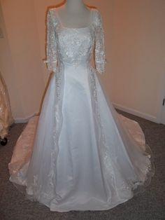 NWT Sz 10 Mori Lee White Wedding Dress + Sleeves