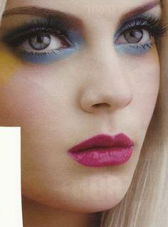 make-up, eyes, blue, yellow