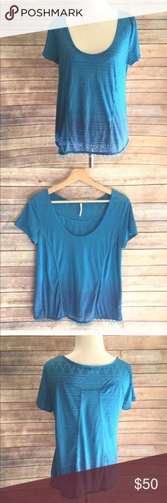 "Free People Ombré Shirt with Beaded Fringe Hem Beautiful bold aqua in a semi sheer with a subtle print. The shirt has a slight ombré and an adorable bead fringe on the hem. Perfect for the beach! Length 23.5"", flat bust measurement 17"". Scoop neck. Pullover style. Free People Tops"