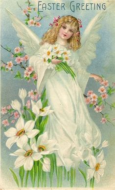 Easter Vintage Angel Card