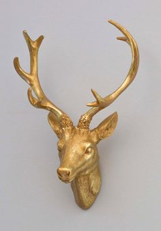 Deer Wall Decor white gold faux antlers plaque wall hanging rustic modern wall