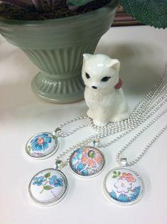 Vintage Handkerchief Necklace - Hankie Necklace - Bridesmaid , Mothers Day , Wedding Party Gift - Silver - Retro Necklace