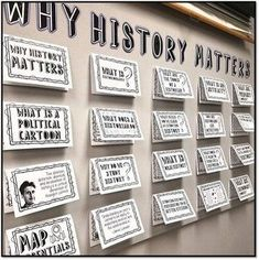 """Why History Matters Bulletin Board, Stations Activity, and Doodle Notes Interactive notebooks inform AND engage students! I use my """"Why History Matters"""" interactive bulletin board in my middle school United States History classes! History Classroom Decorations, World History Classroom, History Teachers, Teaching History, History Education, Physical Education, 7th Grade Social Studies, Social Studies Classroom, Teaching Social Studies"""
