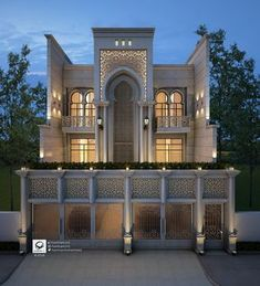 The name of the project related to the Islamic Architecture, Plot area of X Meters) located in Iraq/Duhok, The House contain of Three levels, ground, first and second Floor. Classic House Exterior, Classic House Design, House Front Design, Modern House Design, Villa Design, Facade Design, Exterior Design, Islamic Architecture, Futuristic Architecture