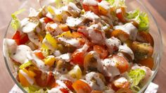 BLT Pasta Salad  - Delish.com Skip the lettuce, add other fresh veg and mix all with the dressing recipe