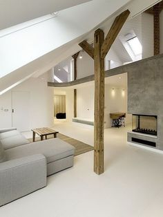 attic room - exposed beams, clean lines