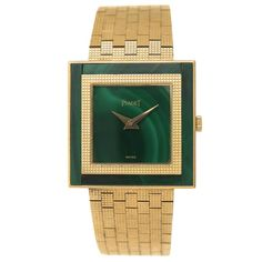 Piaget Yellow Gold Malachite Wristwatch | From a unique collection of vintage wrist watches at https://www.1stdibs.com/jewelry/watches/wrist-watches/