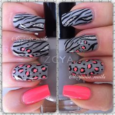 zebra and leopard animal print with bright coral accent nails nail art design