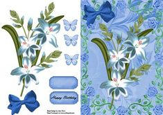 Lovely Blue Lillies on Craftsuprint designed by Amy Perry - Lovely Blue Lillies on blue floral backing paper in lovely floral blue frame with matching blue bow also has matching choice of tag and butterflies - Now available for download!