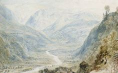 Joseph Mallord William Turner 'Valley of the Nar', 1818 - Watercolour, graphite, bodycolour, scratching out and stopping out on paper -  Dimensions Support: 135 x 215 mm -  Collection Private collection -  © Photo courtesy of Sotheby's