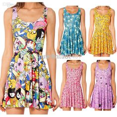 Wholesale-Adventure Time Lumpy Space Princess Print Dresses For Women 2015 Summer Skater Dress punk Dress Novelty Vestidos Plus Size