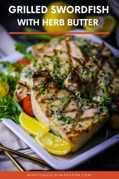 This bright, herby butter is the perfect counter to this tender, meaty grilled swordfish.the herb butter can be made and frozen so you can have it on hand for a quick dinner. Bbq Recipes Sides, Grilling Recipes, Seafood Recipes, Cooking Recipes, Grilled Fish Recipes, Seafood Dishes, Diet Recipes, Healthy Family Dinners, Quick Weeknight Meals