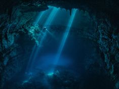 Picture of a diver exploring a sacred Maya cenote--or underground, water-filled cave