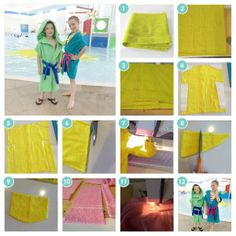 Make these cute and easy towel bathrobes from one towel. Perfect for the pool, beach or tub!