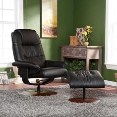 Upton Home Francis Taupe Leather Recliner and Ottoman - Overstock Shopping - Big Discounts on Upton Home Recliners | decor ideas for all | Pinterest ... & Upton Home Francis Taupe Leather Recliner and Ottoman - Overstock ... islam-shia.org