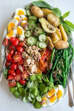 Salad Nicoise. Love the plating!bits all about presentation!