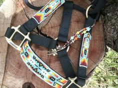 CUSTOM - Handbeaded Halter - Native Style, Turquois- horse halter, nylon halter, beaded halter