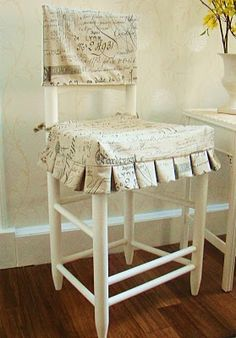 Love Fabric Of Slipcover Reversible Ladder Back Chair Other Side Is Ivory Linen