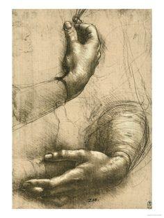Study of Female Hands, Drawing, Royal Library, Windsor by Leonardo da Vinci. Giclee Print from Art.com.
