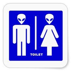 Alien Toilet Square Stickers #Sticker #AlienToilet #ToiletAlien #Alien #Toilet #Extraterrestrial #RoswellNM
