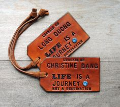 Items similar to Set of 2 Custom Leather Luggage Tags. Stamped with Your Initials. on Etsy 3rd Anniversary Gifts, Personalized Luggage Tags, Best Luggage, Leather Dye, Leather Luggage Tags, Best Wedding Gifts, Life Is A Journey, Custom Leather, Bride Gifts