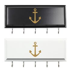 Perfect for a lake or boathouse, the nautical Anchor Hanging Key Holders are great for organizing. Crafted of MDF wood and featuring five (5) display hooks, this wall mountable display is ideal for posting by front and back doors.<br><br><ul>