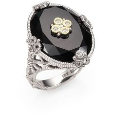 Judith Ripka Black Onyx, White Sapphire, Sterling Silver and 14K Yellow Gold Ring