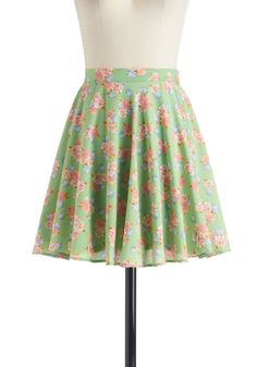Neighborly Love Skirt - Green, Blue, Pink, Floral, Work, Daytime Party, A-line, Short, Spring