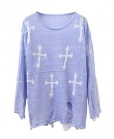 Cross Print Ripped Knitted Pullovers in Purple