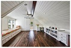 Cute idea for that attic, instead of throwing all your junk up there.  Cute be a craft room, play room, or just an extra place to lounge!