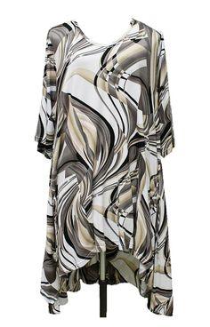 AKH Fashion Lagenlook Hig-Low Tunika Kleid in schlamm Big Size Mode bei www.modeolymp.lafeo.de