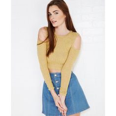 Cold-Shoulder Marled Ribbed Knit Crop Top ($15) ❤ liked on Polyvore featuring tops, mustard, cutout shoulder top, cold shoulder tops, crop top, cut out long sleeve top and wet seal