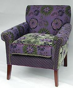 Chair in Jangala Purple: Mary Lynn O'Shea: Upholstered Chair - Artful Home. I so love this chair. Purple Home, Green And Purple, Purple Chair, Love Chair, Salon Chairs, Funky Furniture, Upholstered Furniture, Cool Chairs, Upholstery