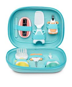This baby care set includes all you need to keep your little one neat and tidy from head to toe. Designed in bright colours and fun character shapes with soft touch grips all the items will store easily away in the handy travel case. Baby Toiletries, Baby Toothbrush, Stages Of Baby Development, Newborn Baby Care, Baby Skin Care, Unique Baby Names, Baby Box, Hygiene, Baby Hacks