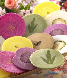 "Japanese ""crackers"" made from dried fruits, seasonings, and edible flowers. Tokyo, Japan  www.japantravel.com"