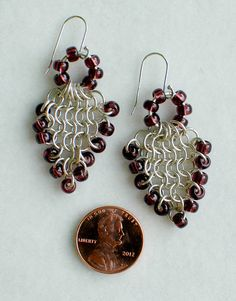 Sterling Silver Chainmaille Earrings with Amethyst by DaisiesChain, $30.00