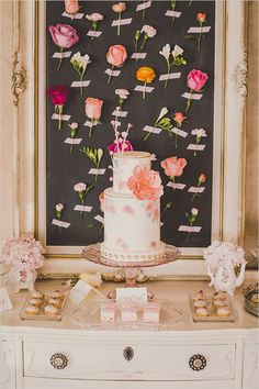 http://www.weddingchicks.com/2015/07/07/super-sweet-pink-wedding-ideas/ pink desert table ideas by @cakelaine featured on @weddingchicks