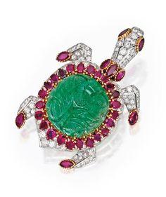 Platinum, 18 Karat Gold, Carved Emerald, Ruby and Diamond Brooch, Cartier, Paris