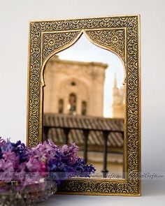 "LARGE Moroccan Nights 16""H Arabian Arch Design Golden Nickel Wall Mirror"