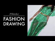 fashion illustration soft green dress with flower bodice - YouTube