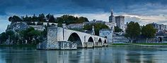 Pont Saint-Bénézet and Rhône River at dusk, Avignon, France