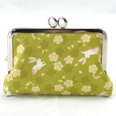 Business Credit Card Case - Japanese Sakura Bunny on Green