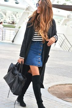 justthedesign:   This button front skirt looks... Fashion Tumblr | Street Wear, & Outfits