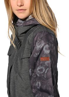 A close up of the @roxy Rizzo Grey Floral Snowboard Jacket