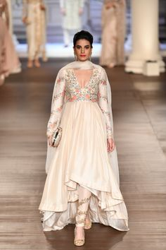 Ruffled low high anarkali in ivory with embroidered churidar