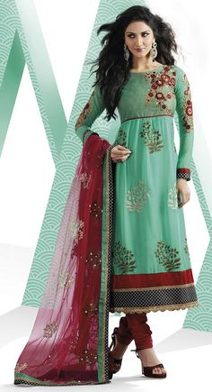 Teal Blue Embroidered Faux Georgette Long Anarkali Salwar Suit 23985. I love these colors together.