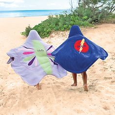 """Our friend, Elina, recommends our exclusive Sueprhero & Butterfly Towels on BabyCenter.com as top picks for the beach!  """"Ditch the boring towels and wrap them in something they'll be proud to show off. The superhero and butterfly versions are perfect for little boys and girls."""""""