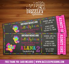 Printable Chalkboard Butterfly Ticket Birthday Invitation   Digital File   Girl 1st Birthday Party Idea   FREE thank you card   Party Package Available    Banner   Cupcake Toppers   Favor Tag   Food and Drink Labels   Signs    Candy Bar Wrapper   www.dazzleexpressions.com