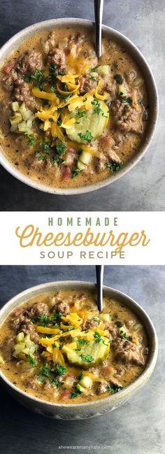 Easy Cheeseburger Soup Recipe | http://shewearsmanyhats.com